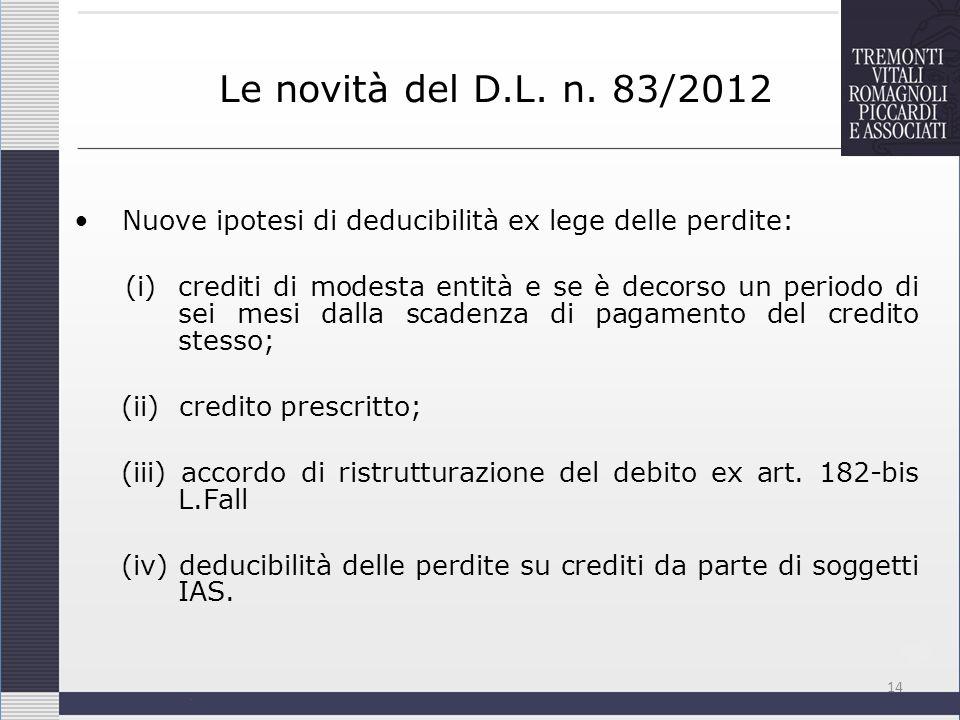Le novità del D.L. n. 83/2012 Nuove ipotesi di deducibilità ex lege delle perdite: (i) crediti di modesta entità e se è decorso un periodo di sei mesi