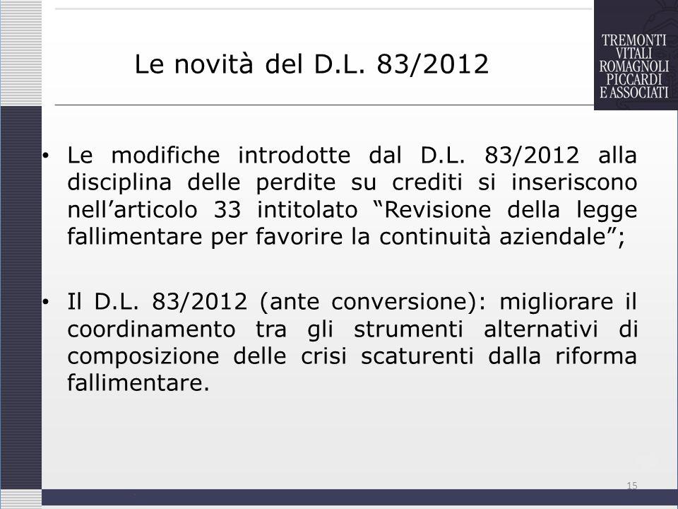 Le novità del D.L. 83/2012 Le modifiche introdotte dal D.L. 83/2012 alla disciplina delle perdite su crediti si inseriscono nellarticolo 33 intitolato