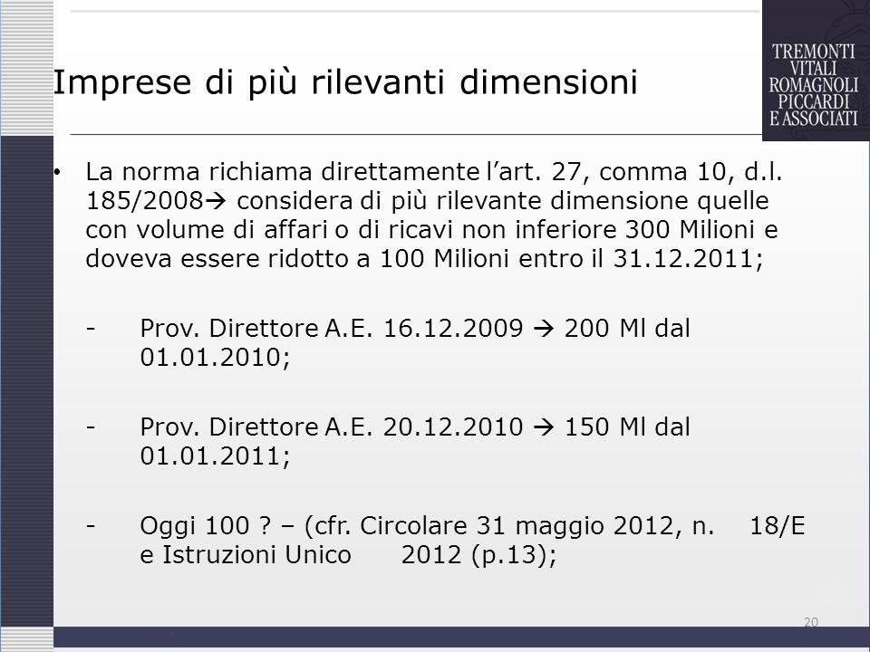 Imprese di più rilevanti dimensioni La norma richiama direttamente lart. 27, comma 10, d.l. 185/2008 considera di più rilevante dimensione quelle con