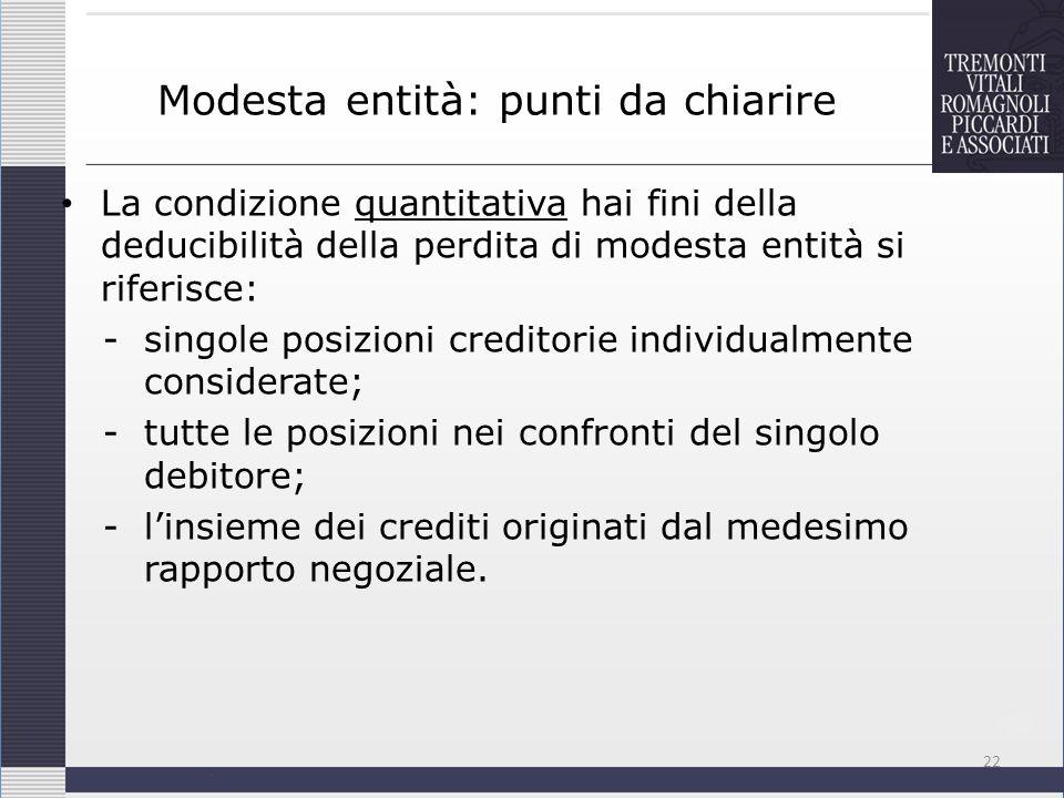 Modesta entità: punti da chiarire La condizione quantitativa hai fini della deducibilità della perdita di modesta entità si riferisce: -singole posizi