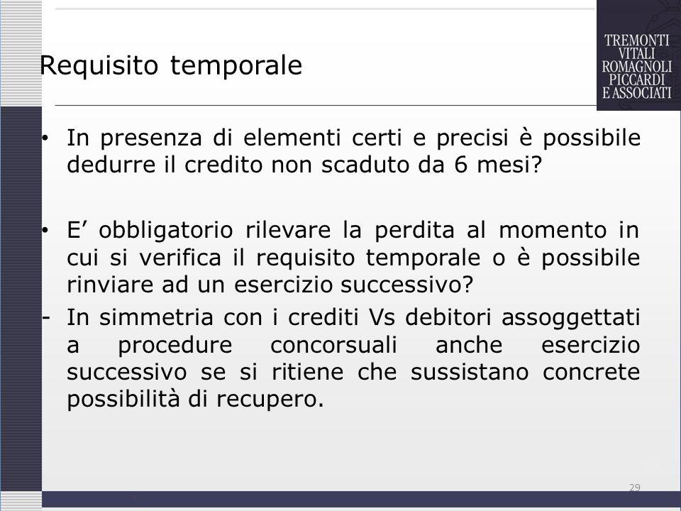 Requisito temporale In presenza di elementi certi e precisi è possibile dedurre il credito non scaduto da 6 mesi? E obbligatorio rilevare la perdita a