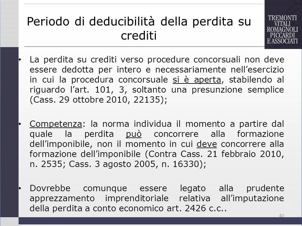 Periodo di deducibilità della perdita su crediti La perdita su crediti verso procedure concorsuali non deve essere dedotta per intero e necessariament