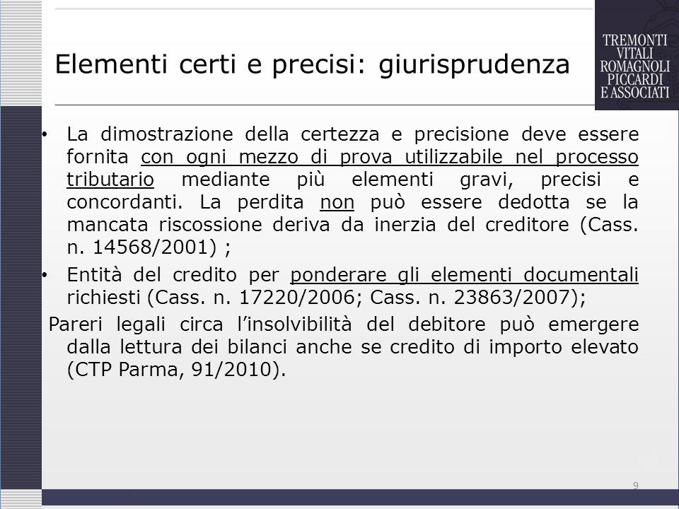 Elementi certi e precisi: giurisprudenza La dimostrazione della certezza e precisione deve essere fornita con ogni mezzo di prova utilizzabile nel pro