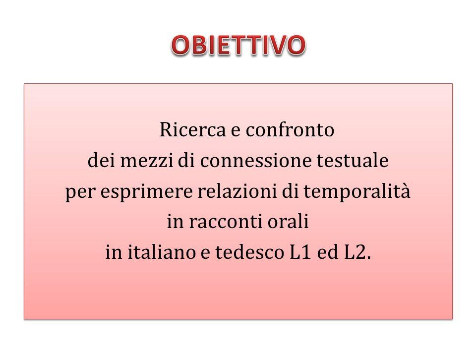 Ricerca e confronto dei mezzi di connessione testuale per esprimere relazioni di temporalità in racconti orali in italiano e tedesco L1 ed L2. Ricerca