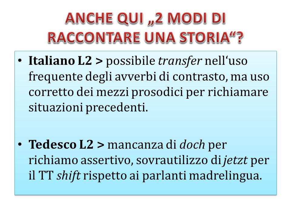 Italiano L2 > possibile transfer nelluso frequente degli avverbi di contrasto, ma uso corretto dei mezzi prosodici per richiamare situazioni precedent