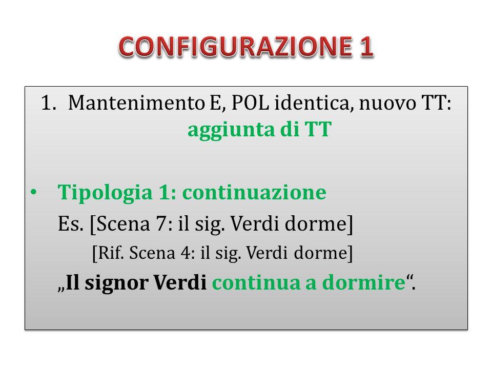 1.Mantenimento E, POL identica, nuovo TT: aggiunta di TT Tipologia 1: continuazione Es. [Scena 7: il sig. Verdi dorme] [Rif. Scena 4: il sig. Verdi do