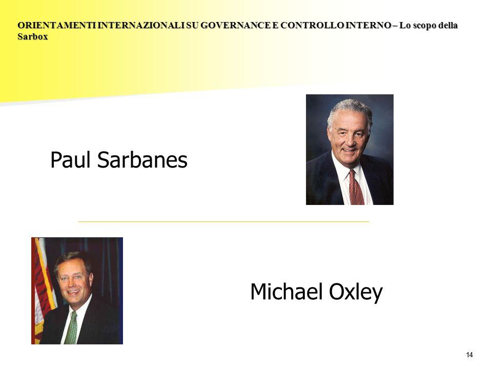 14 ORIENTAMENTI INTERNAZIONALI SU GOVERNANCE E CONTROLLO INTERNO – Lo scopo della Sarbox Paul Sarbanes Michael Oxley