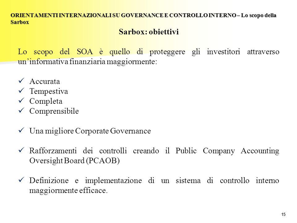 15 Sarbox: obiettivi Lo scopo del SOA è quello di proteggere gli investitori attraverso uninformativa finanziaria maggiormente: Accurata Tempestiva Co