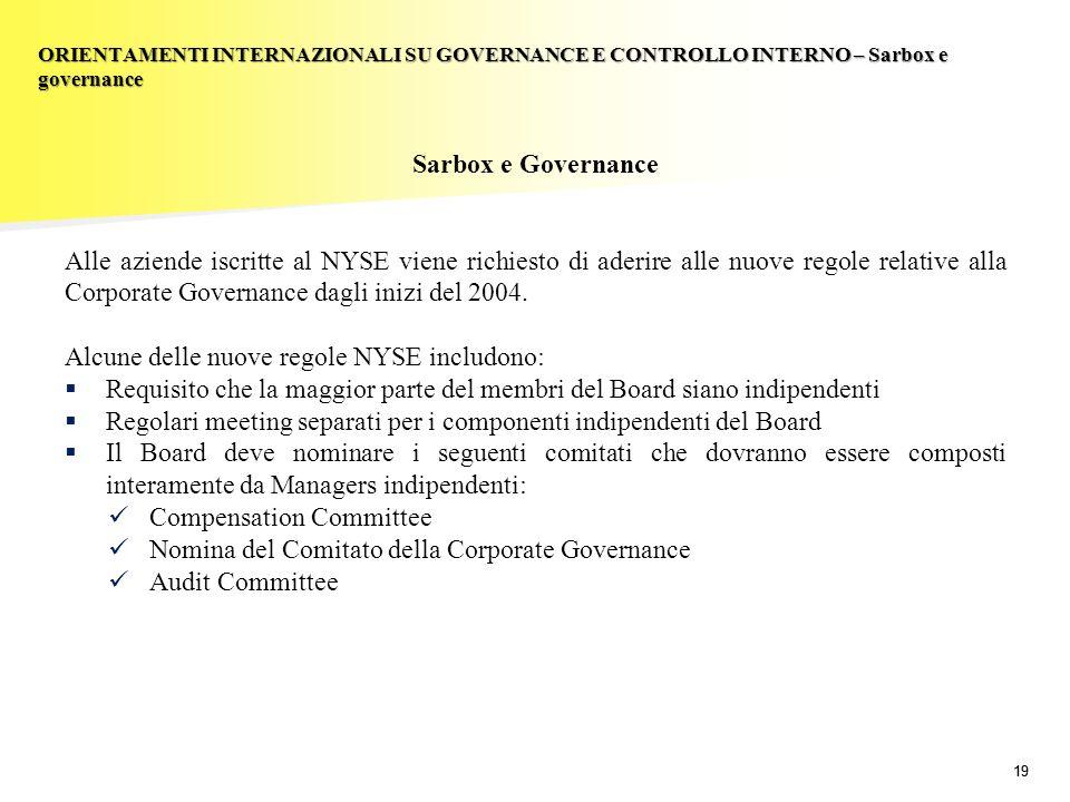 19 Sarbox e Governance Alle aziende iscritte al NYSE viene richiesto di aderire alle nuove regole relative alla Corporate Governance dagli inizi del 2