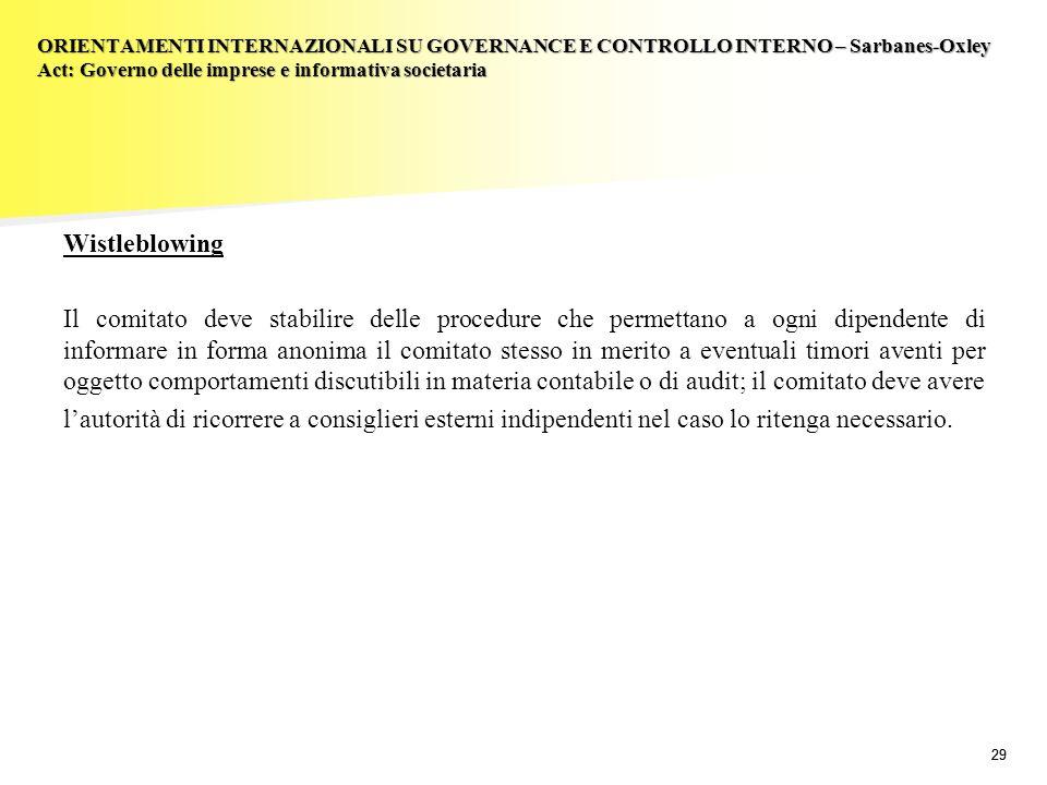 29 Wistleblowing Il comitato deve stabilire delle procedure che permettano a ogni dipendente di informare in forma anonima il comitato stesso in merit
