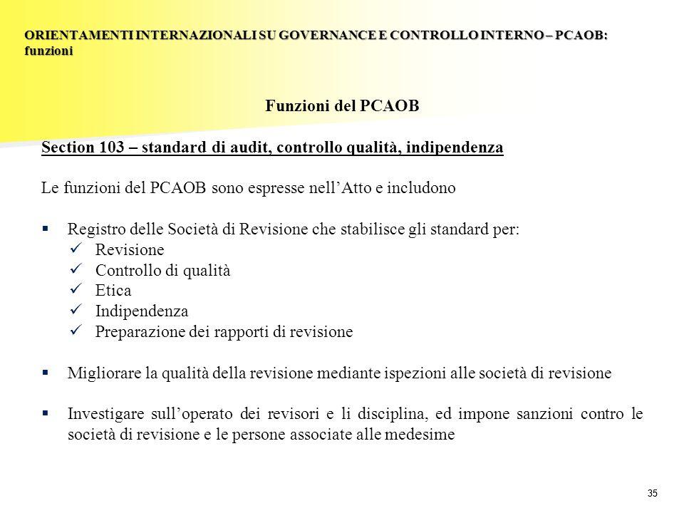 35 Funzioni del PCAOB Section 103 – standard di audit, controllo qualità, indipendenza Le funzioni del PCAOB sono espresse nellAtto e includono Regist
