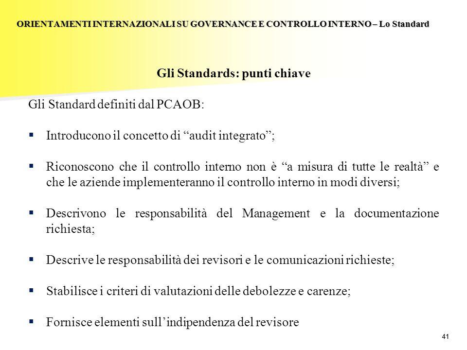 41 Gli Standards: punti chiave Gli Standard definiti dal PCAOB: Introducono il concetto di audit integrato; Riconoscono che il controllo interno non è