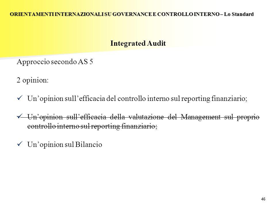 46 Integrated Audit Approccio secondo AS 5 2 opinion: Unopinion sullefficacia del controllo interno sul reporting finanziario; Unopinion sullefficacia