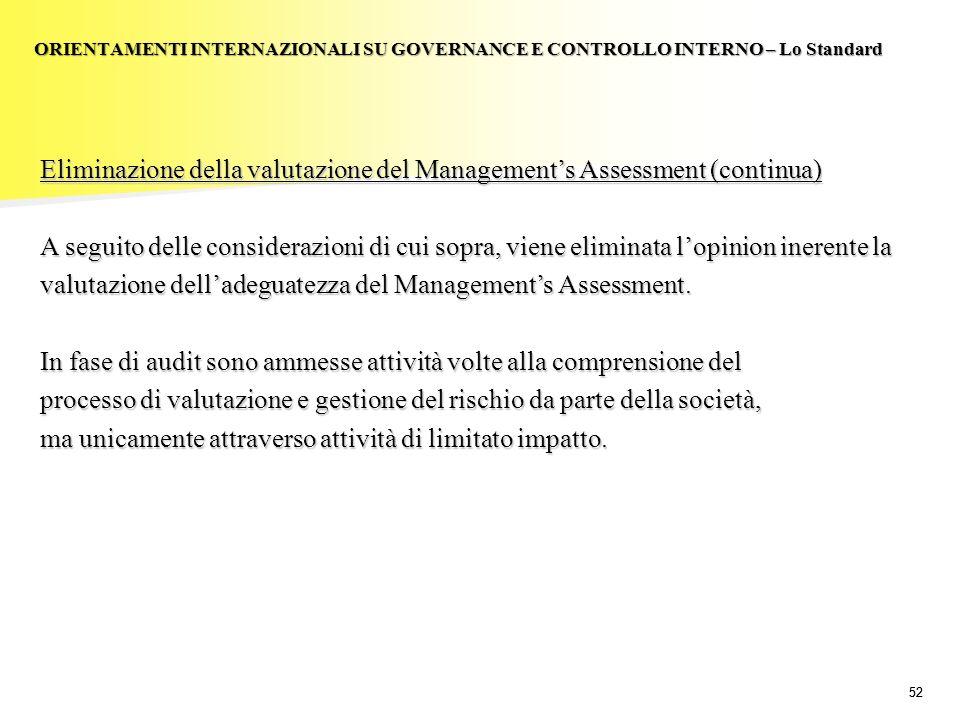 52 Eliminazione della valutazione del Managements Assessment (continua) A seguito delle considerazioni di cui sopra, viene eliminata lopinion inerente