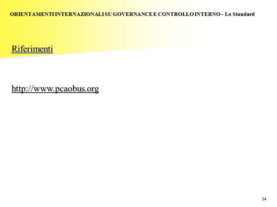 54 Riferimentihttp://www.pcaobus.org ORIENTAMENTI INTERNAZIONALI SU GOVERNANCE E CONTROLLO INTERNO – Lo Standard