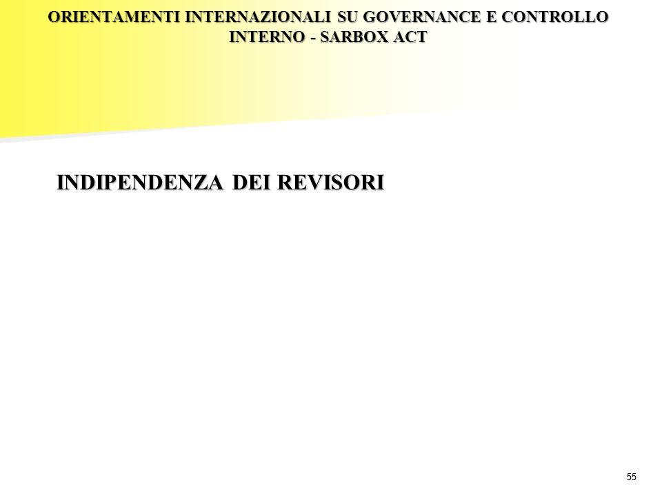 55 ORIENTAMENTI INTERNAZIONALI SU GOVERNANCE E CONTROLLO INTERNO - SARBOX ACT INDIPENDENZA DEI REVISORI