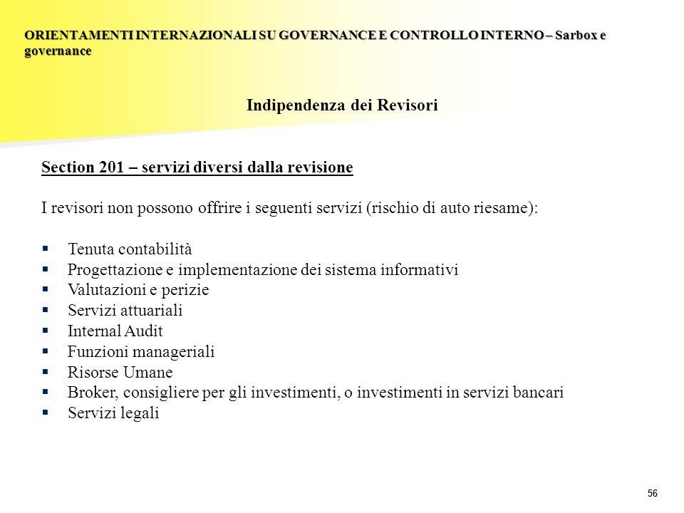 56 Indipendenza dei Revisori Section 201 – servizi diversi dalla revisione I revisori non possono offrire i seguenti servizi (rischio di auto riesame)