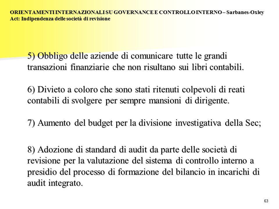 63 5) Obbligo delle aziende di comunicare tutte le grandi transazioni finanziarie che non risultano sui libri contabili. 6) Divieto a coloro che sono