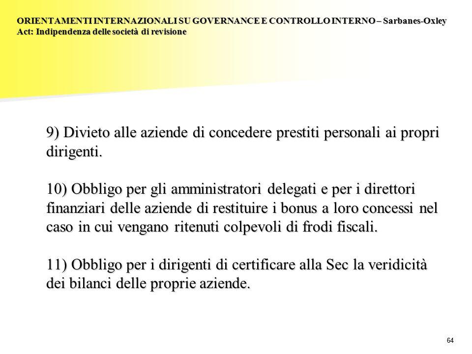 64 9) Divieto alle aziende di concedere prestiti personali ai propri dirigenti. 10) Obbligo per gli amministratori delegati e per i direttori finanzia