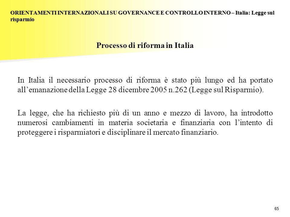 65 Processo di riforma in Italia In Italia il necessario processo di riforma è stato più lungo ed ha portato allemanazione della Legge 28 dicembre 200