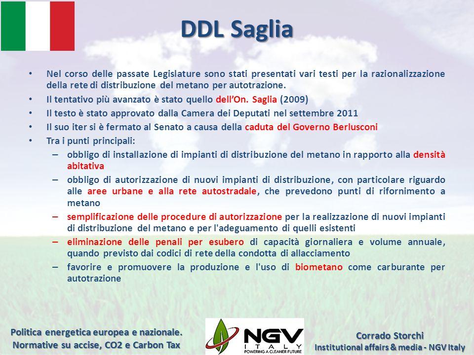 DDL Saglia Nel corso delle passate Legislature sono stati presentati vari testi per la razionalizzazione della rete di distribuzione del metano per au