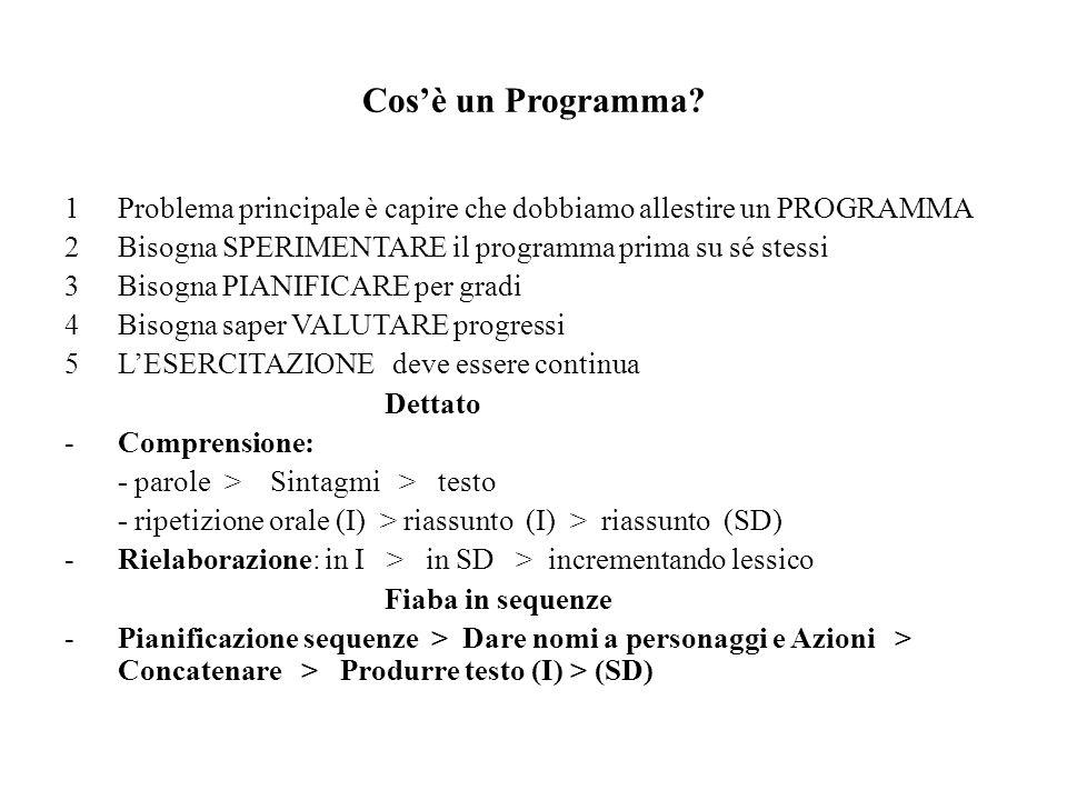 Cosè un Programma? 1Problema principale è capire che dobbiamo allestire un PROGRAMMA 2Bisogna SPERIMENTARE il programma prima su sé stessi 3Bisogna PI