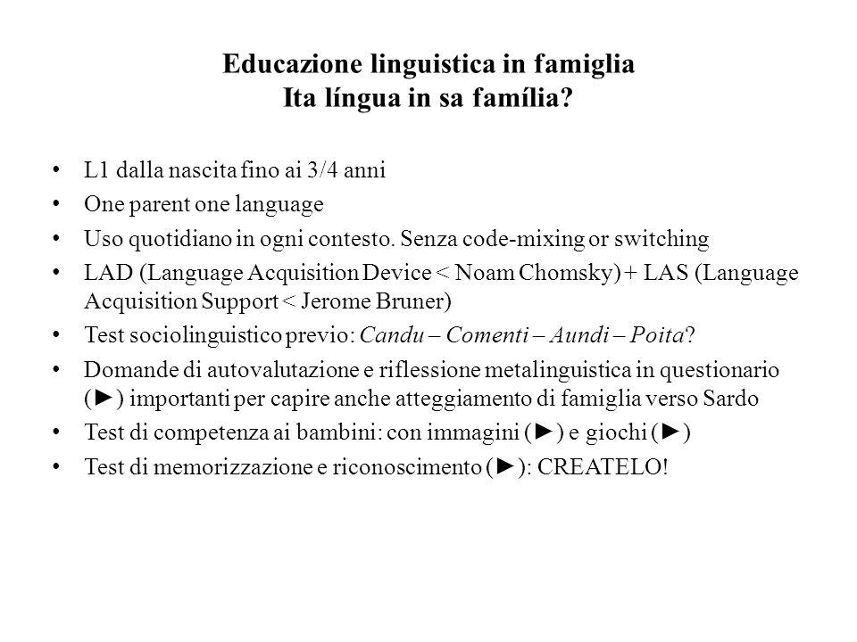 Educazione linguistica in famiglia Ita língua in sa família? L1 dalla nascita fino ai 3/4 anni One parent one language Uso quotidiano in ogni contesto