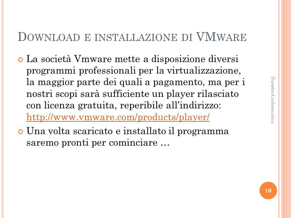 D OWNLOAD E INSTALLAZIONE DI VM WARE La società Vmware mette a disposizione diversi programmi professionali per la virtualizzazione, la maggior parte dei quali a pagamento, ma per i nostri scopi sarà sufficiente un player rilasciato con licenza gratuita, reperibile allindirizzo: http://www.vmware.com/products/player/ http://www.vmware.com/products/player/ Una volta scaricato e installato il programma saremo pronti per cominciare … 10 Burstnet informatica