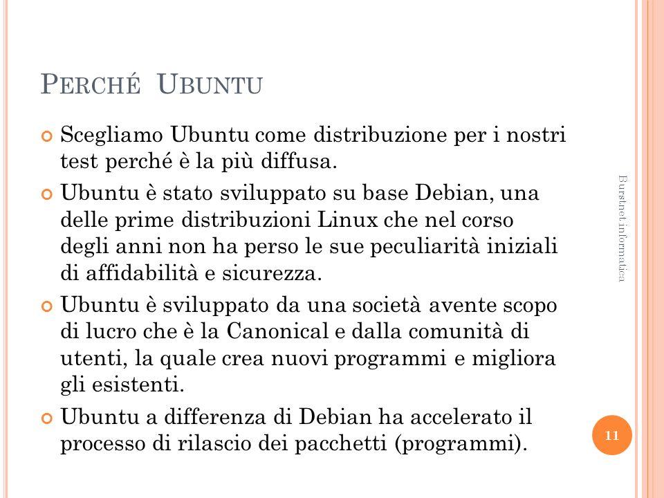 P ERCHÉ U BUNTU Scegliamo Ubuntu come distribuzione per i nostri test perché è la più diffusa.
