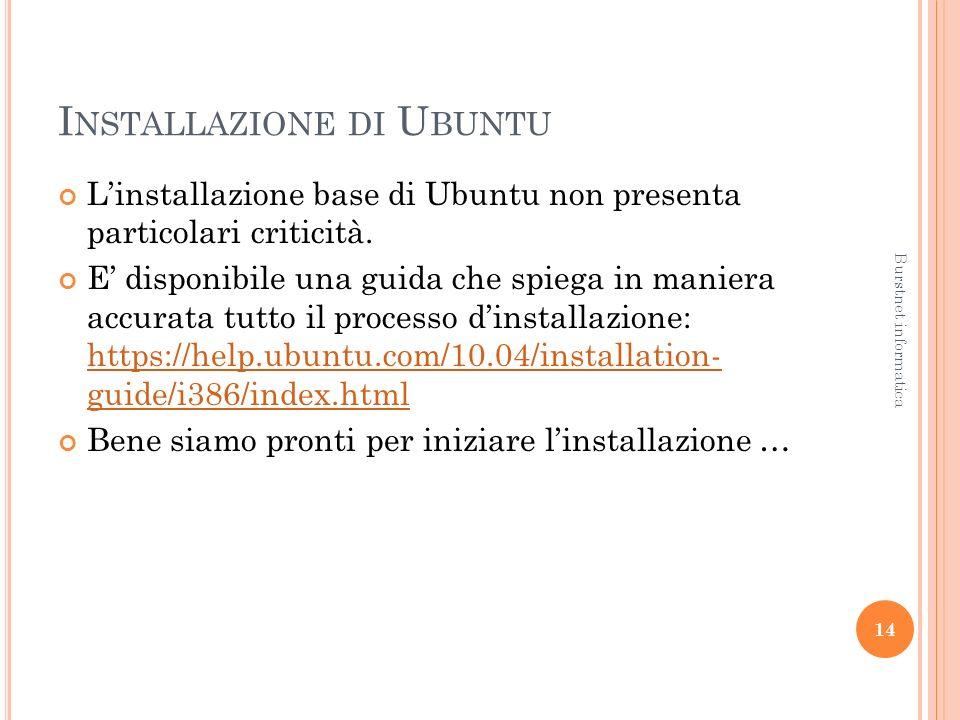 I NSTALLAZIONE DI U BUNTU Linstallazione base di Ubuntu non presenta particolari criticità.