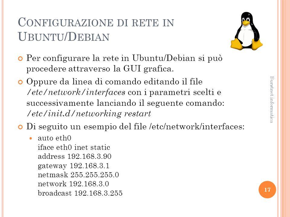 C ONFIGURAZIONE DI RETE IN U BUNTU /D EBIAN Per configurare la rete in Ubuntu/Debian si può procedere attraverso la GUI grafica.