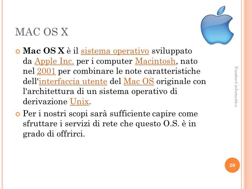 MAC OS X Mac OS X è il sistema operativo sviluppato da Apple Inc.