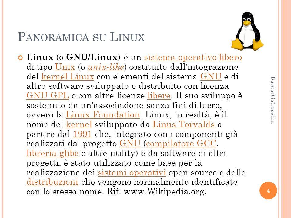 P ANORAMICA SU L INUX Linux (o GNU/Linux ) è un sistema operativo libero di tipo Unix (o unix-like ) costituito dall integrazione del kernel Linux con elementi del sistema GNU e di altro software sviluppato e distribuito con licenza GNU GPL o con altre licenze libere.