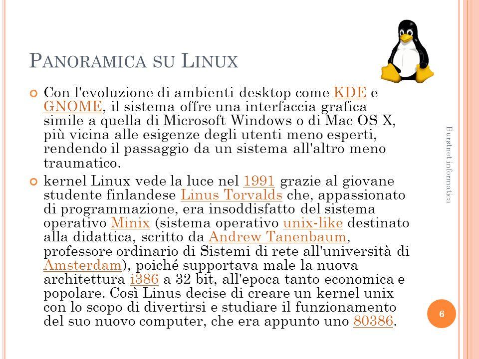 P ANORAMICA SU L INUX Con l evoluzione di ambienti desktop come KDE e GNOME, il sistema offre una interfaccia grafica simile a quella di Microsoft Windows o di Mac OS X, più vicina alle esigenze degli utenti meno esperti, rendendo il passaggio da un sistema all altro meno traumatico.KDE GNOME kernel Linux vede la luce nel 1991 grazie al giovane studente finlandese Linus Torvalds che, appassionato di programmazione, era insoddisfatto del sistema operativo Minix (sistema operativo unix-like destinato alla didattica, scritto da Andrew Tanenbaum, professore ordinario di Sistemi di rete all università di Amsterdam), poiché supportava male la nuova architettura i386 a 32 bit, all epoca tanto economica e popolare.