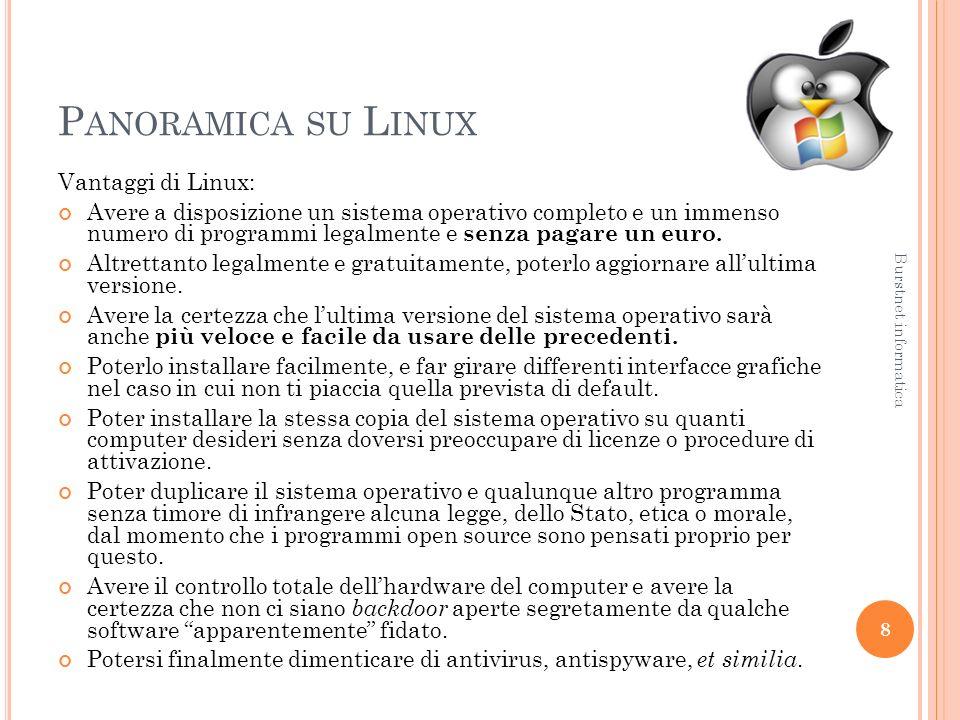 P ANORAMICA SU L INUX Vantaggi di Linux: Avere a disposizione un sistema operativo completo e un immenso numero di programmi legalmente e senza pagare un euro.