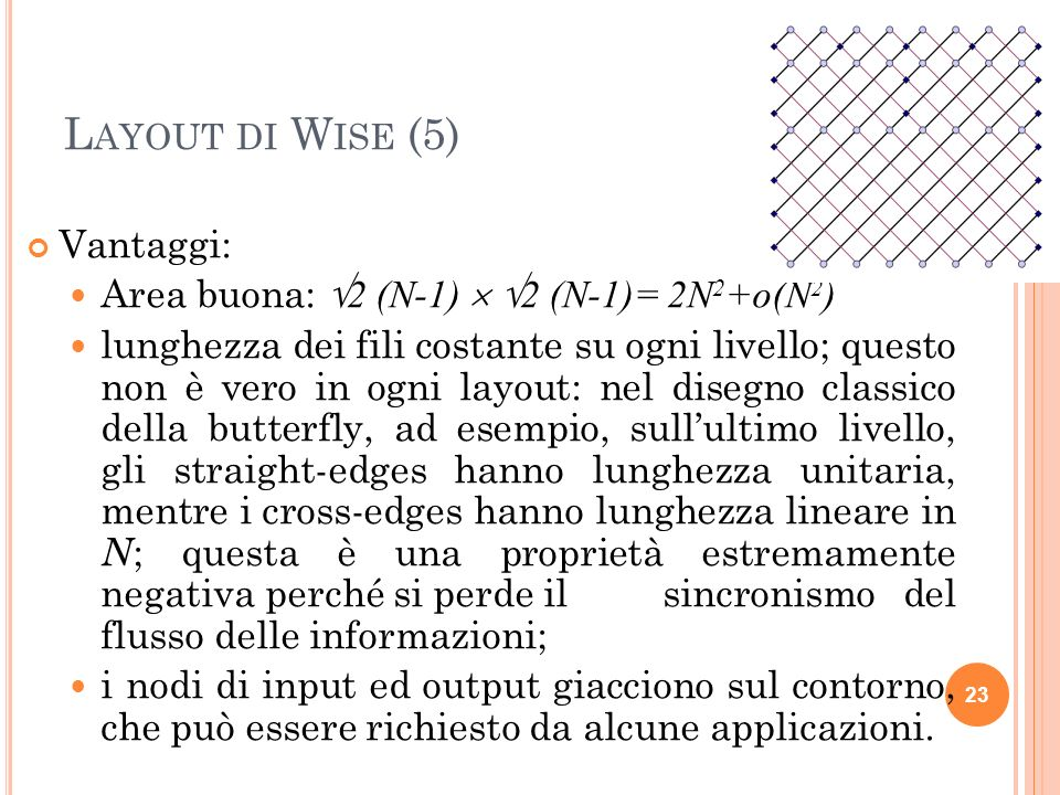 L AYOUT DI W ISE (5) Vantaggi: Area buona: 2 (N-1) 2 (N-1)= 2N 2 +o(N 2 ) lunghezza dei fili costante su ogni livello; questo non è vero in ogni layou