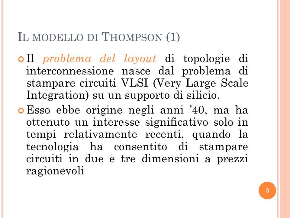 I L MODELLO DI T HOMPSON (1) Il problema del layout di topologie di interconnessione nasce dal problema di stampare circuiti VLSI (Very Large Scale In