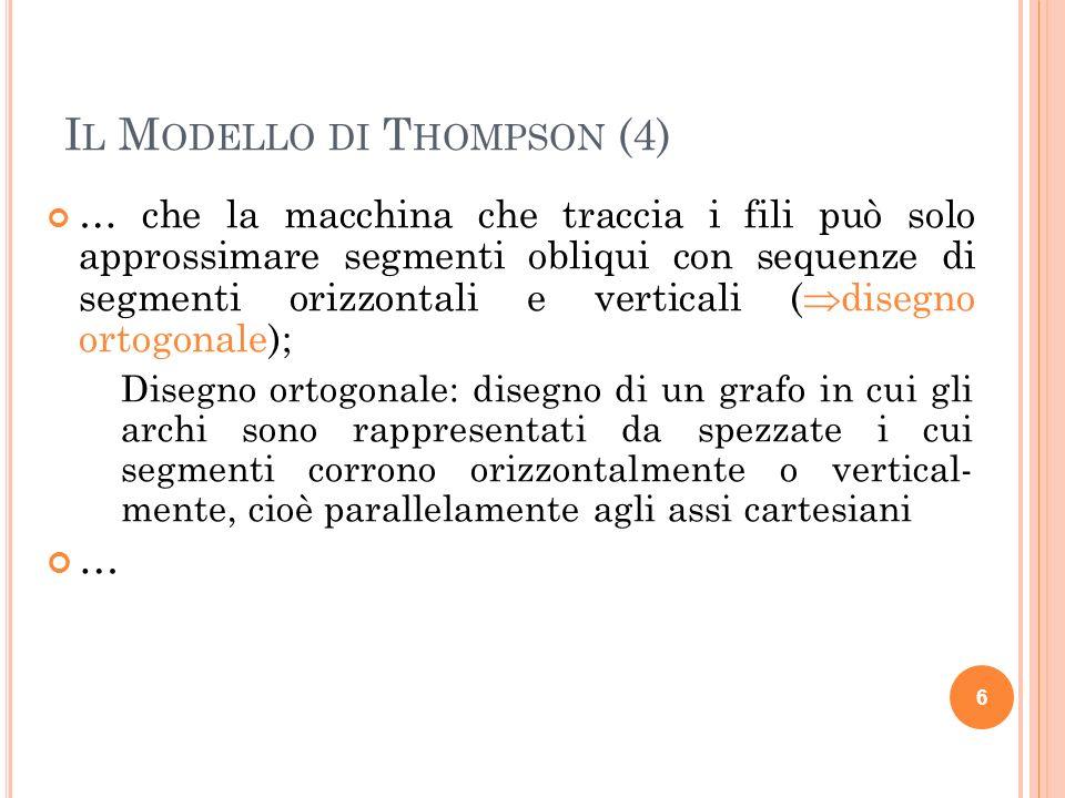 I L M ODELLO DI T HOMPSON (4) … che la macchina che traccia i fili può solo approssimare segmenti obliqui con sequenze di segmenti orizzontali e verti