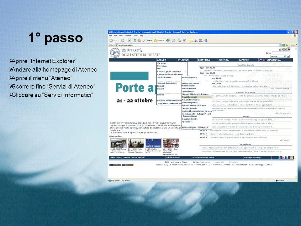 1° passo Aprire Internet Explorer Andare alla homepage di Ateneo Aprire il menu Ateneo Scorrere fino Servizi di Ateneo Cliccare su Servizi Informatici