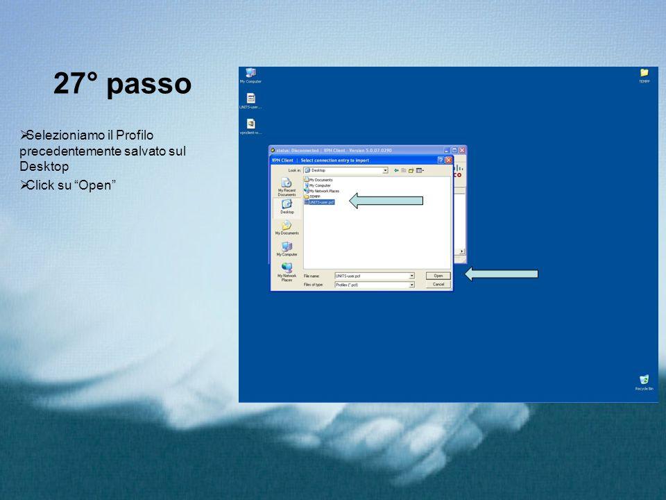 27° passo Selezioniamo il Profilo precedentemente salvato sul Desktop Click su Open