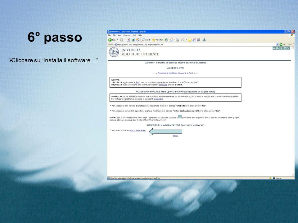 6° passo Cliccare su Installa il software…