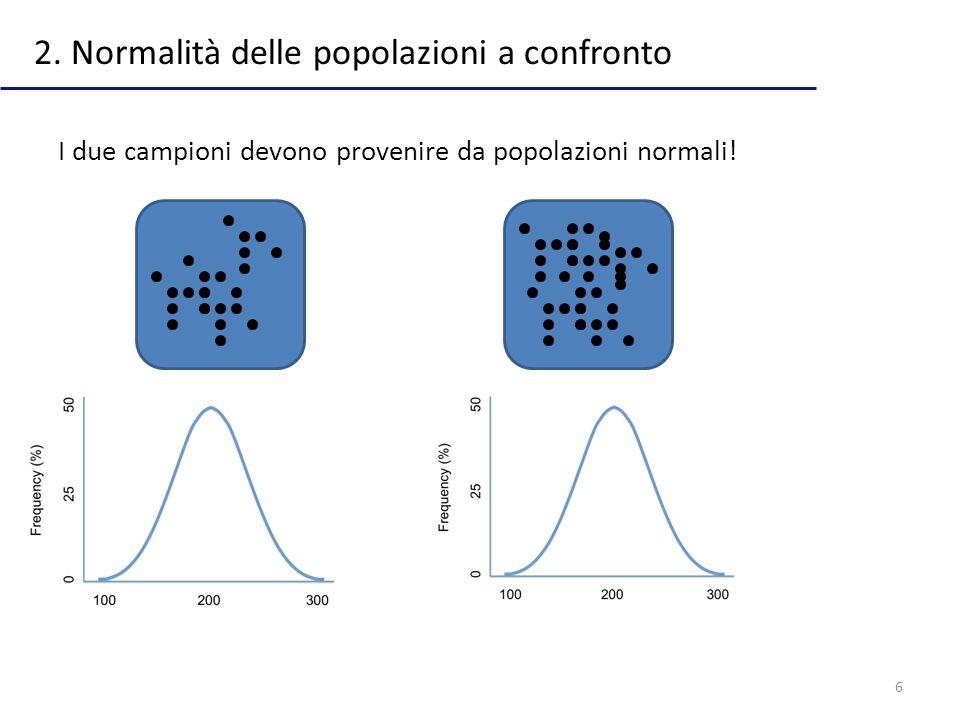 6 2. Normalità delle popolazioni a confronto I due campioni devono provenire da popolazioni normali!