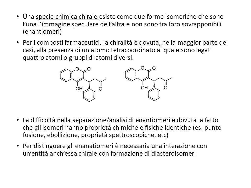 Una specie chimica chirale esiste come due forme isomeriche che sono luna limmagine speculare dellaltra e non sono tra loro sovrapponibili (enantiomeri) Per i composti farmaceutici, la chiralità è dovuta, nella maggior parte dei casi, alla presenza di un atomo tetracoordinato al quale sono legati quattro atomi o gruppi di atomi diversi.