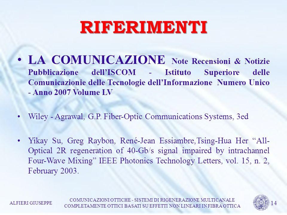 RIFERIMENTI LA COMUNICAZIONE Note Recensioni & Notizie Pubblicazione dellISCOM - Istituto Superiore delle Comunicazionie delle Tecnologie dellInformaz