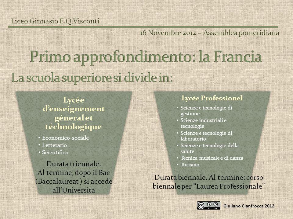 Liceo Ginnasio E.Q.Visconti 16 Novembre 2012 – Assemblea pomeridiana Giuliano Cianfrocca 2012 Lycée denseignement géneral et téchnologique Economico-s