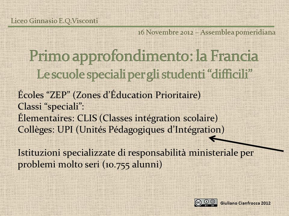 Liceo Ginnasio E.Q.Visconti 16 Novembre 2012 – Assemblea pomeridiana Giuliano Cianfrocca 2012 Écoles ZEP (Zones dÉducation Prioritaire) Classi special