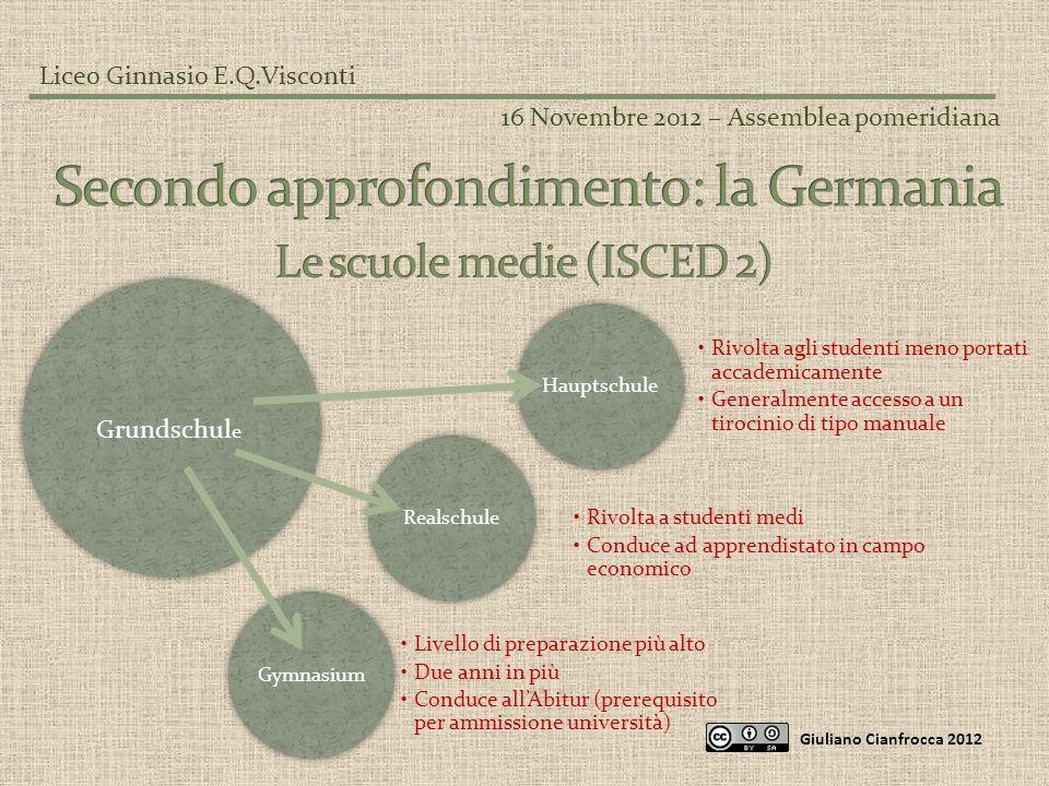 Liceo Ginnasio E.Q.Visconti 16 Novembre 2012 – Assemblea pomeridiana Giuliano Cianfrocca 2012 Hauptschule Rivolta agli studenti meno portati accademic