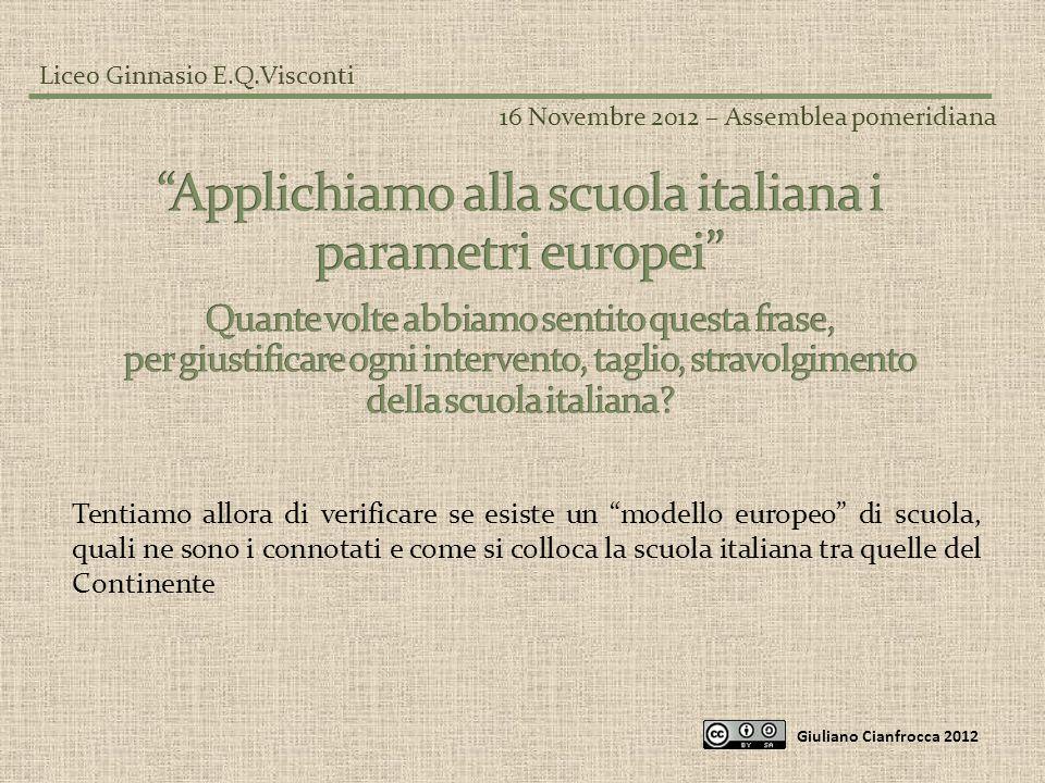 Liceo Ginnasio E.Q.Visconti 16 Novembre 2012 – Assemblea pomeridiana Giuliano Cianfrocca 2012 Ecco il confronto con un insegnante in Italia:
