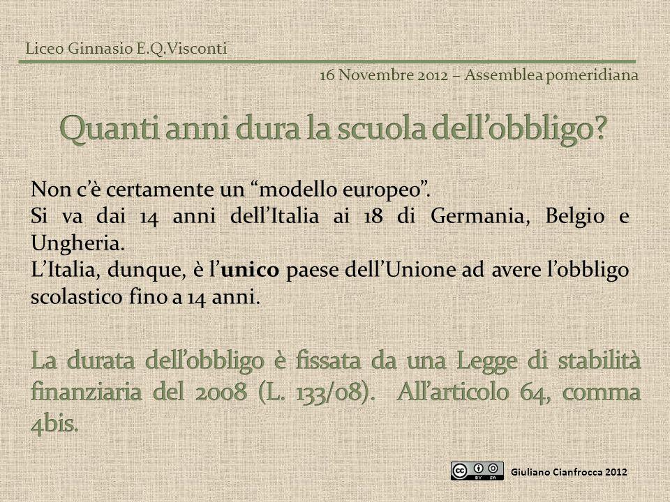 Liceo Ginnasio E.Q.Visconti 16 Novembre 2012 – Assemblea pomeridiana Giuliano Cianfrocca 2012 Non cè certamente un modello europeo. Si va dai 14 anni