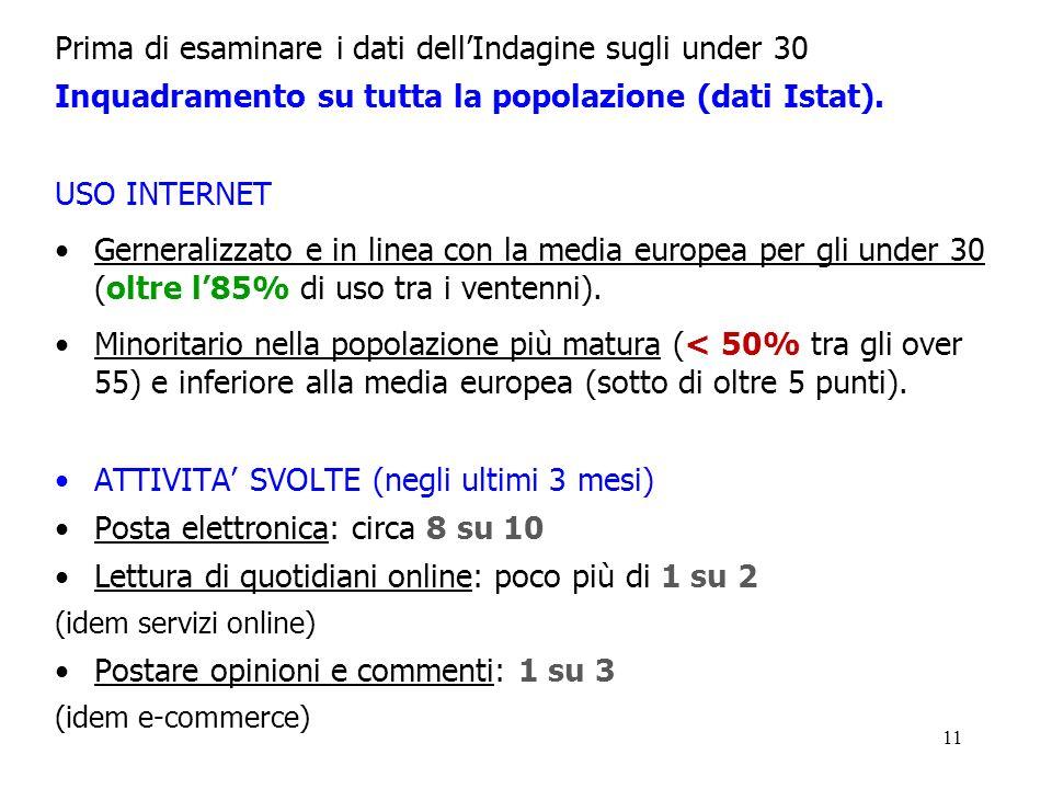 11 Prima di esaminare i dati dellIndagine sugli under 30 Inquadramento su tutta la popolazione (dati Istat). USO INTERNET Gerneralizzato e in linea co